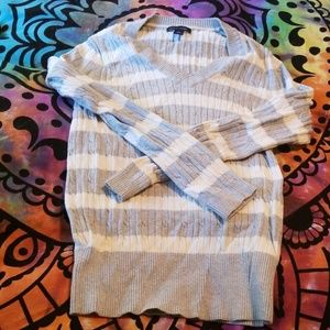 Gap Grey and White Striped Sweater